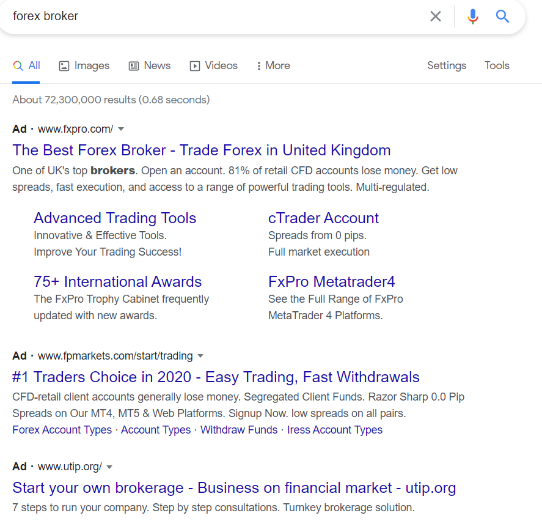 Native Advertising Example - Google's SERPs